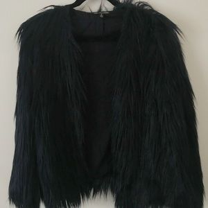 Ladkah X Urban Outfitters Navy Faux Fur Jacket
